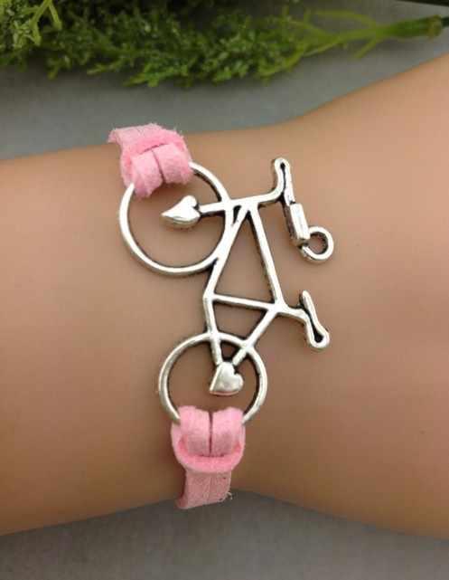 1 pc จักรยานสร้อยข้อมือ - เงินจักรยานสีชมพู Flocking สร้อยข้อมือหนัง, สร้อยข้อมือ bridesmaid, 1281
