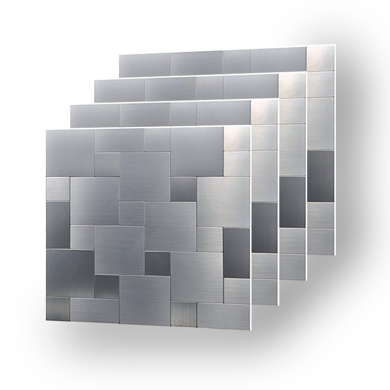 Wholesale 4 Sheets Peel and Stick Alloy Wall Sticker Brush Silver Oil proof Kitchen Decoration Backsplash 12 inch Nordic Maison