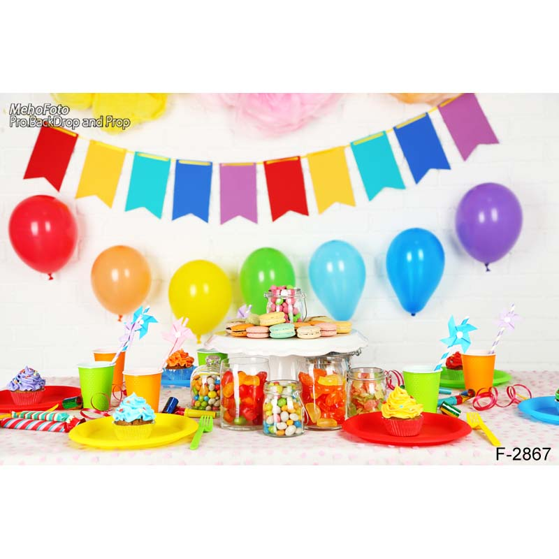 Birthday party  Baby Shower Photography Background For Studio Photo Vinyl Photographic Backdrops cloth F-2867 vinyl cloth easter day children party photo background 5x7ft photography backdrops for party home decoation photo studio ge 064