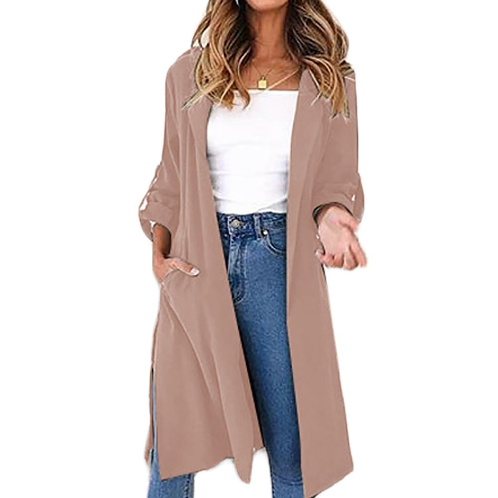 Women's Sash Elastic Cardigan Solid Color   Trench   Long Sleeve Casual Autumn Winter Outerwear Top With Belts Office Women Coat