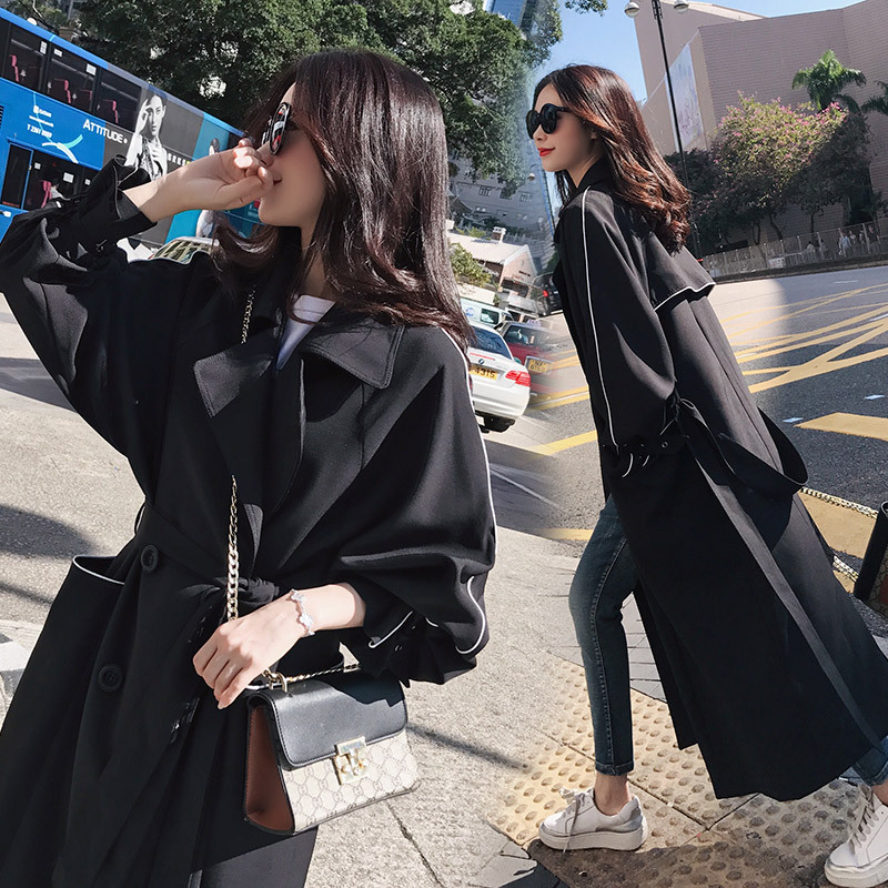 The new black   trench   coat Girls long paragraph Korean students wild spring loose knee coat autumn
