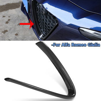 1x Racing Grille Front Lower Grille Frame Cover Trim Fits For Alfa Romeo Giulia 2017-2018 Carbon Fiber Look ABS Plastic grille