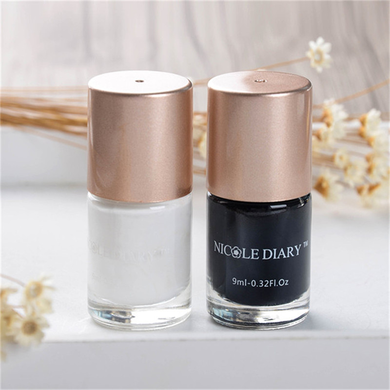 2 Bottle 9ml Nail Art Stamping Polish Black and White Nail Art Varnish Polish for Beauty Nail Art Printing 2 Colors 4 bottles nicole diary 9ml nail art stamping polish silver nail art varnish polish for beauty nail art printing