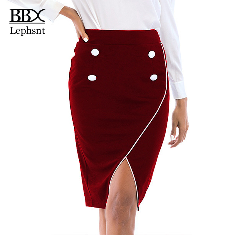 BBX Lephsnt wine red bottoms asymmetrical skirt 2018 new arrivals elegant women summer skirt midi high waist pencil skirt B84009