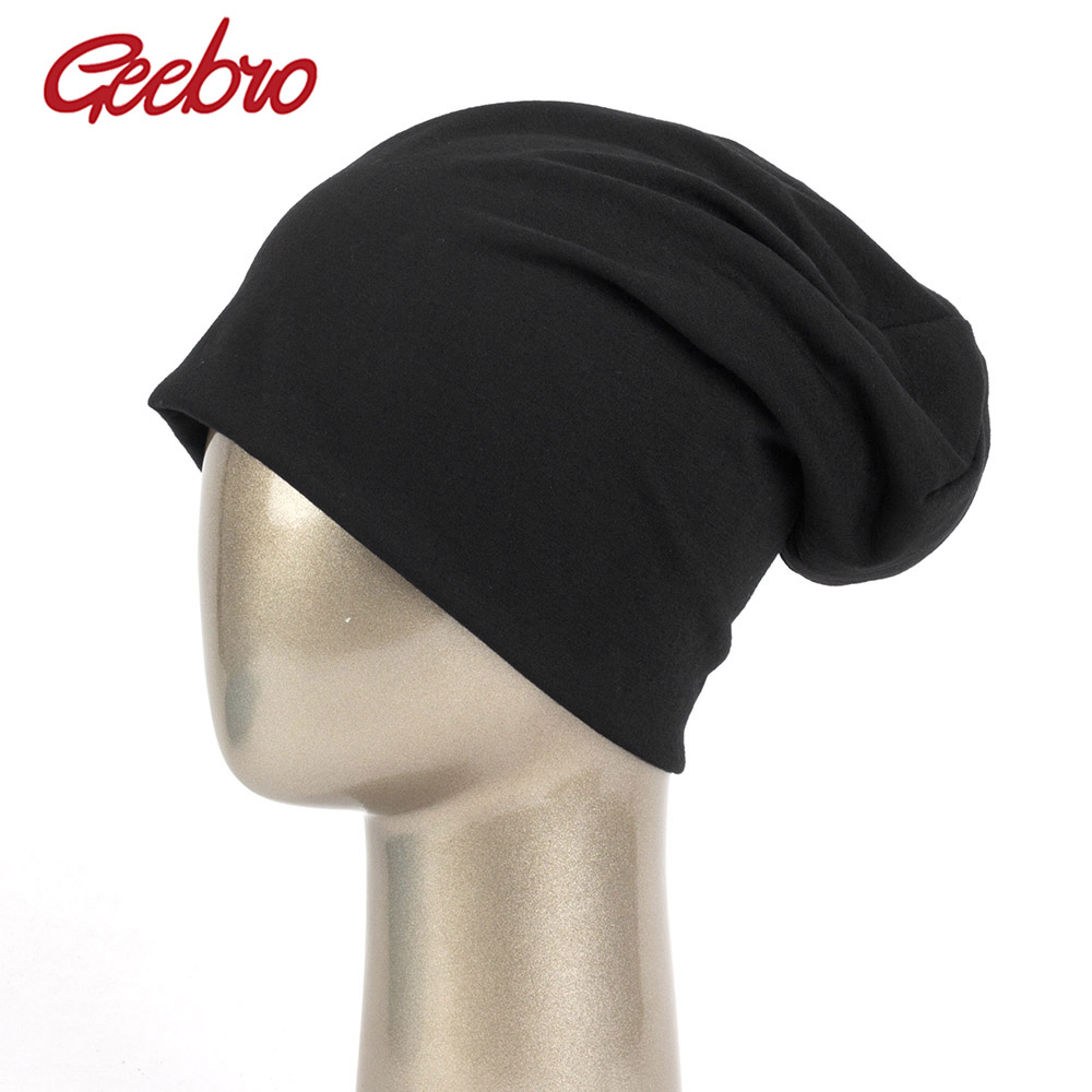 Geebro Solid Cotton Beanies For Women Slouchy Beanie Casual Caps For Man Turban Wraps Warm Hats Fashion Bonnet Unisex DQ923