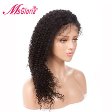 Msgloria Kinky Curl Full Lace Wigs Human Hair With Baby Hair For Women Brazilian Pre Plucked Remy Lace Front Wigs Bleached Knots(China)