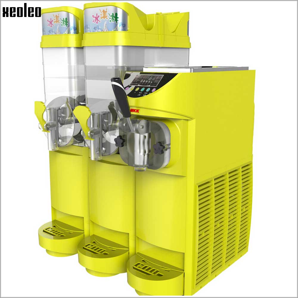 XEOLEO Slush Machine And Ice Cream Machine Together 15L*2 Ice Slusher Single Flavor Ice Cream Maker 16L/H R134 Slushing Maker