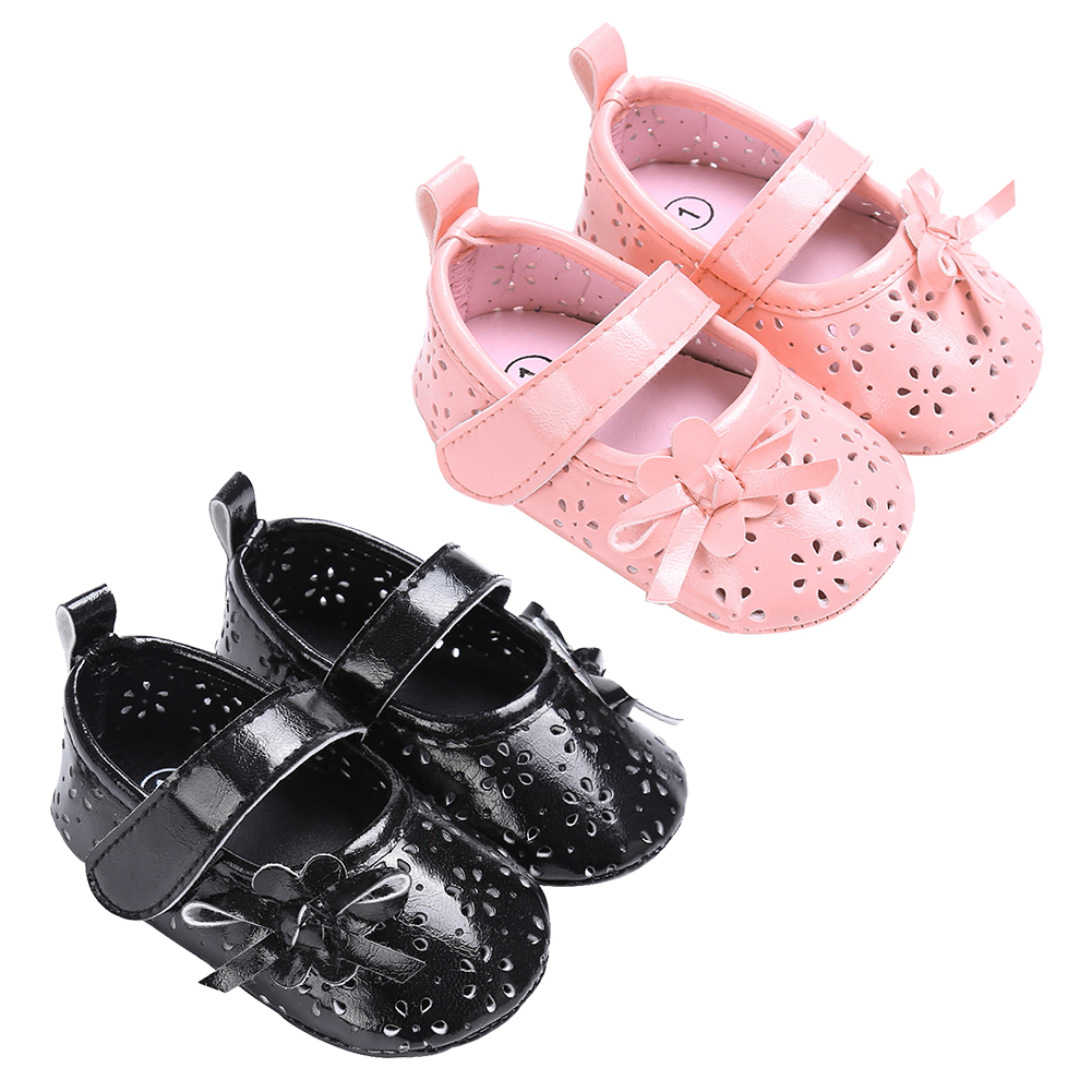 Infant Toddler First Walkers PU Hollow Infant Girl Soft Sole Crib Shoes Anti Slip Prewalker Newborn Princess Shoes for 0-18M