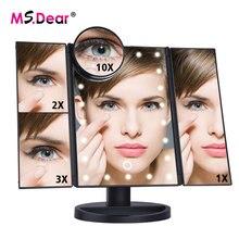 22 светодиода складной светильник световой макияж зеркало 1X/2X/3X/10X увеличительное 180 градусов вращающийся Регулируемый Настольный косметический зеркала