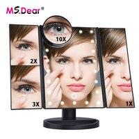 22 LEDs Folding Lamp Luminous Makeup Mirror 1X/2X/3X/10X Magnifying 180 degree Rotating Adjustable Tabletop Cosmetic Mirrors