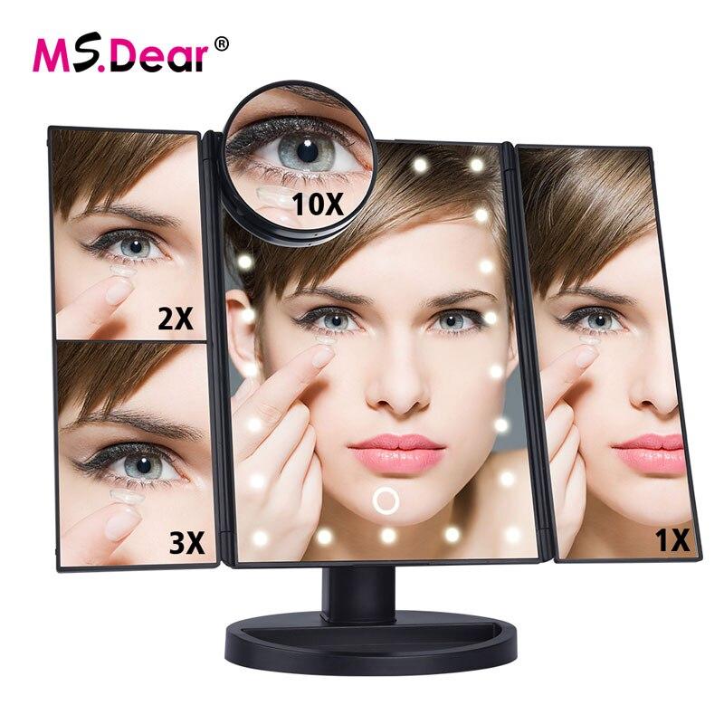 22 LEDs lámpara plegable espejo de maquillaje luminoso 1 x/2X/3X/10X aumento 180 grados giratorio ajustable espejos cosméticos de mesa