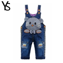 10M-24M Infant Baby Girls/Boys Denim Overalls Jeans Rompers Mouse Animal Baby Clothes Kids Toddler Jumpsuit