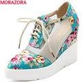 Плюс размер 34-42 новая мода клинья зашнуровать женщин насосы высокие каблуки вырезами лето печати ткань случайные свадебные туфли женщина