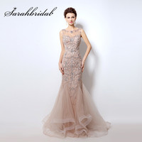 Elegant Blush Evening Dresses Mermaid Long Beading Crystals Real Photo Sexy Sheer Neck Prom Party Gowns Robe de Soiree CC006