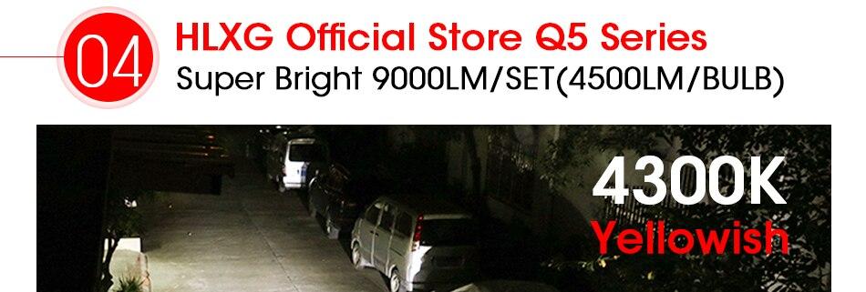HLXG 2Pcs 9000LM H4 led 4300K Yellowish CSP Chips H11 H8 LED H7 H1 H3 52W 9000LMset 9005 HB3 9006 HB4 Bulbs Car Headlight 6000K (9)