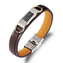 2016 Leather Bracelet Men Stainless Steel bracelets & bangles men jewelry pulseira masculina High quality pulseras Bangle homme