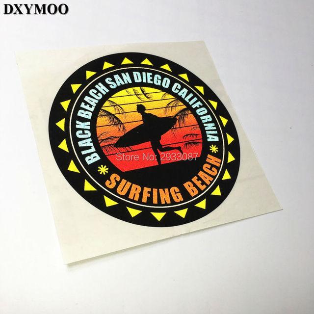 120mm funny surfing beach black beach san diego california car window sticker and decals motorcycle vinyl