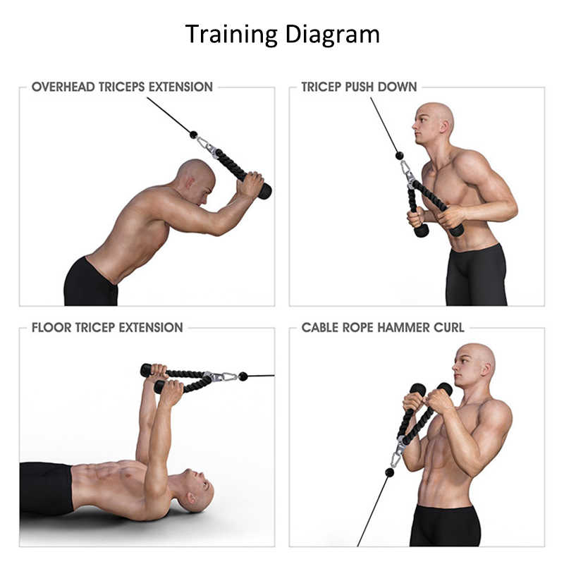 Tricep Bicep Rope Gym Cable Attachment Push Pull Down Bar Rope Fitness Home Gym