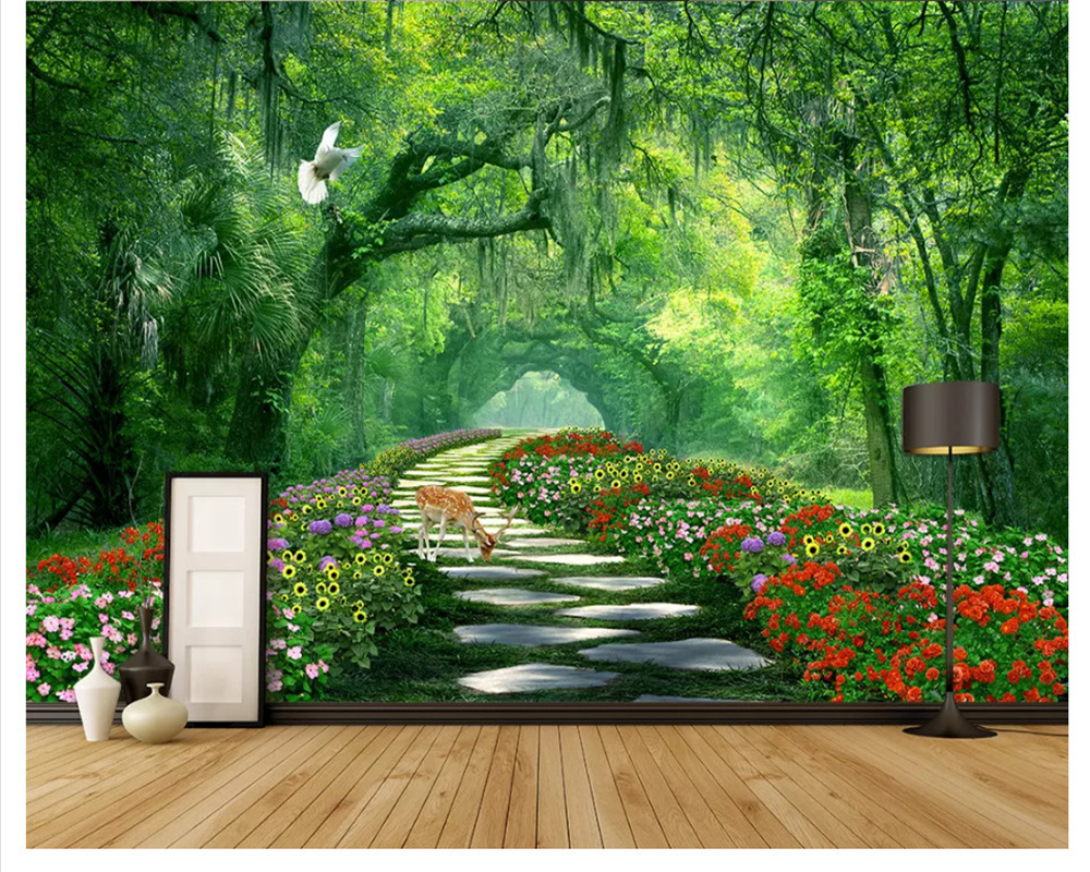 US $8 85 OFF Beibehang Fashion Three Dimensional Decorative Painting Wall Paper Woods Park Green Shade Road 3d Wallpaper Landscape