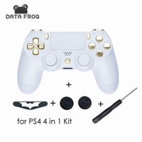 Replacement White Shell Chrome Gold Buttons For Playstation 4 PS4 Controller Light Bar Sticker Thumbstick Grip