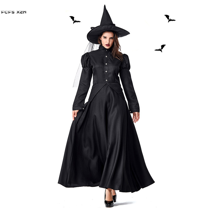 M-XL Gothic Woman Halloween Witch Robes Costumes Female Black Sorceress Cosplays Carnival Purim Masquerade Nightclub Party dress