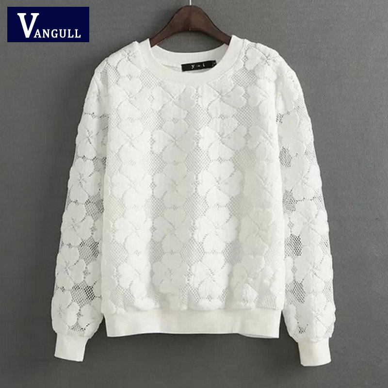 Vangull O-Neck Hedging Sweatshirt New Women Lace Hollow Out Female Hoodies All-Match Bottoming Sudaderas S~XXL Moletom Feminina