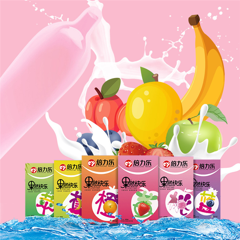 10Pcs/Box Fruit Natural Latex Fruit Smooth Lubricated Condom Banana Blueberry Orange Peach Ultra Thin Condoms For Men Sex Health