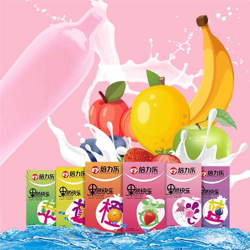 10Pcs/Box Fruit Natural Latex Fruit Smooth Lubricated Condom Banana Blueberry Orange Peach Ultra Thin Condoms For Men Sex Health