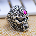 3.5cm*2.5cm  Natural semi-precious stones punk style women jewelry 925 Vintage Silver Skull Ring finger ring man male rings