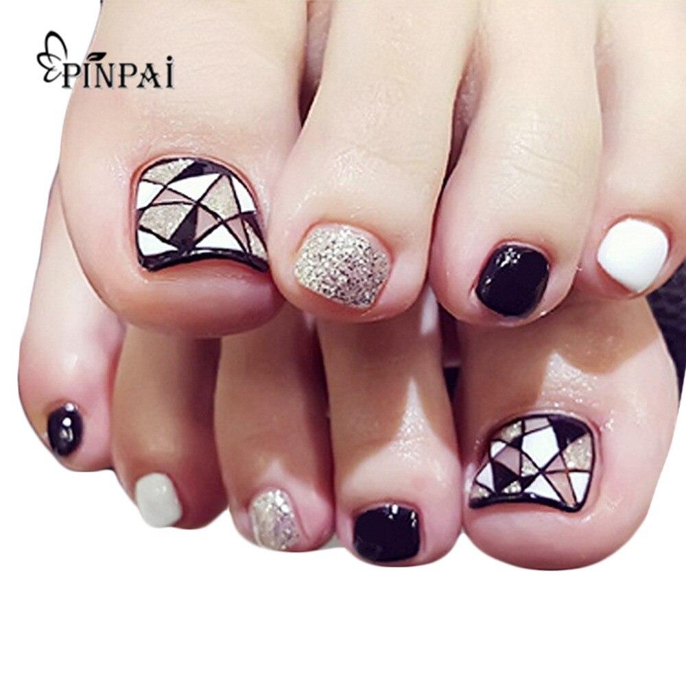 24pcs Nail Stickers Tips Patches False Nails Foot Toenail ...