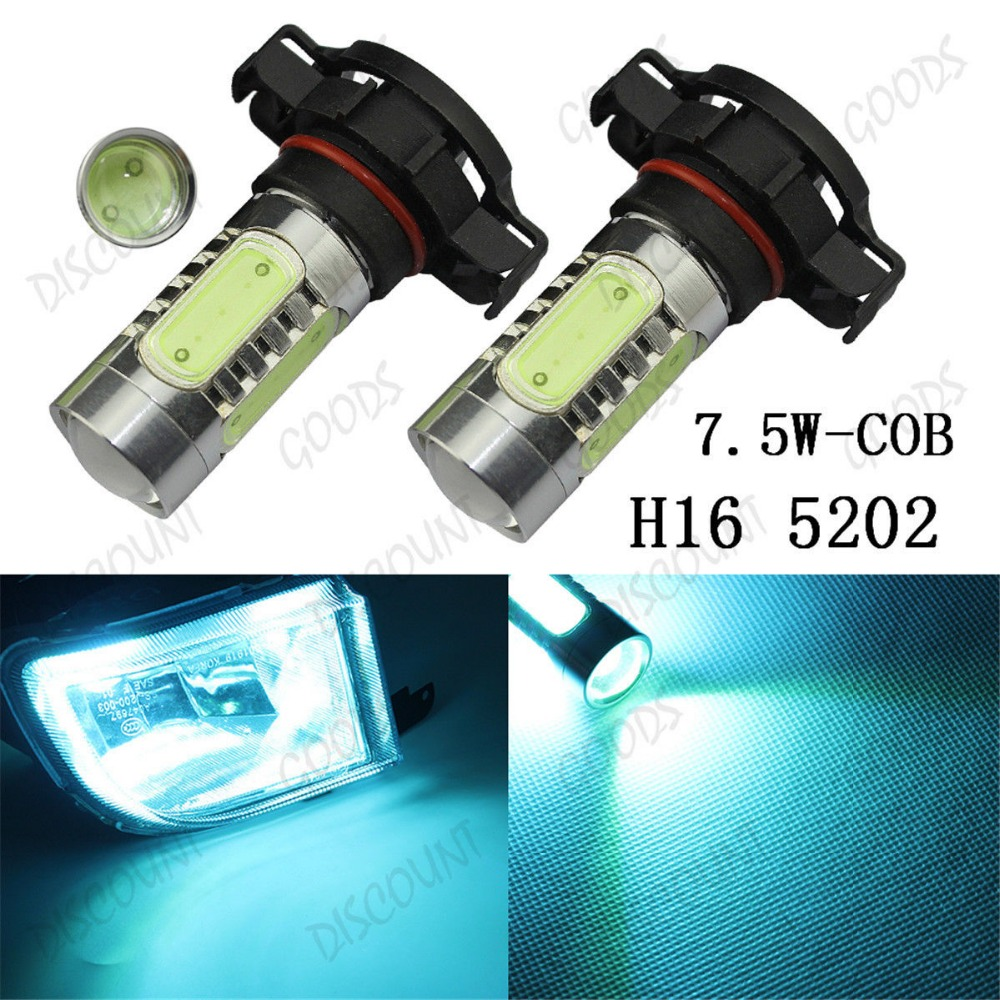 2pcs <font><b>H16</b></font> <font><b>5202</b></font> <font><b>Led</b></font> Car Lights 7.5W COB <font><b>Led</b></font> Fog Light Car <font><b>Led</b></font> Bulb 8000K Ice Blue For DRL Lights PS24WFF 5201 image