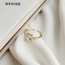 WFSVER 925 sterling silver fashion ring for women gold color with Square crystal wedding opening adjustable fine jewelry