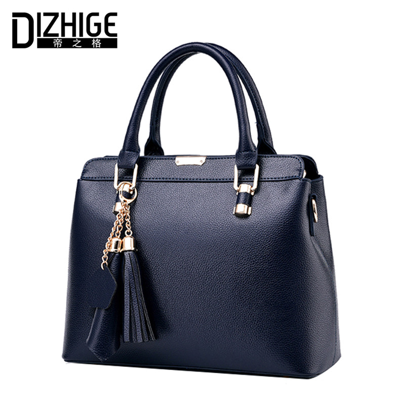 DIZHIGE Brand Fashion Tassel Women Handbags Designer Ladies Shoulder Bag Luxury PU Leather Bags Women Chain Tote Famous 2017 New купить