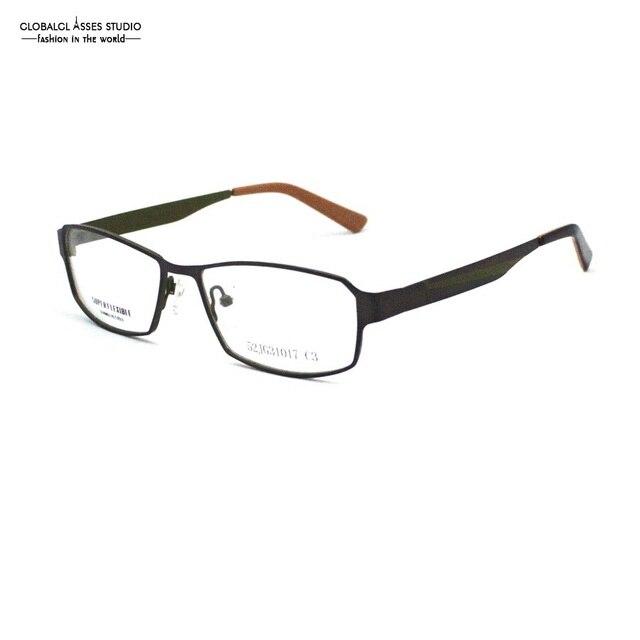 4470876154e9 Big Square Lens Fashion Metal Glasses Frame Women Gray Color Thin Acetate  Tip Prescription Optical Frame 52JG31017-C3