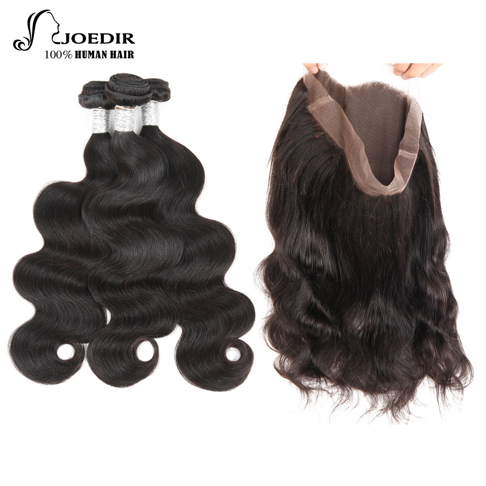 Joedir Human Hair 360 Lace Frontal with Bundle Body Wave Malaysia Human Hair Weave 3 Bundles with Frontal Closure Non-remy