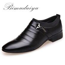 BIMUDUIYU luxury Brand Искусственная Кожа Мужчины Острым Носом Платье Черные Туфли Скольжения На Бизнес Делам Дизайн Оксфорд Свадебная Обувь