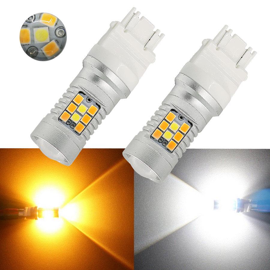 HYZHAUTO T25 P27/7W 3157 Двухцветные светодиодные Автомобильные фары, белые + янтарные лампы, автомобильные поворотники DRL 3030 28SMD 2 шт.