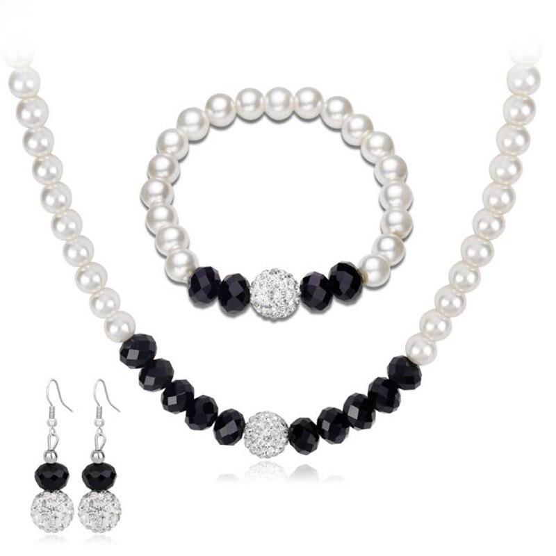 Aliexpress.com : Buy DIEZI Black White Pearl Jewelry Sets ...
