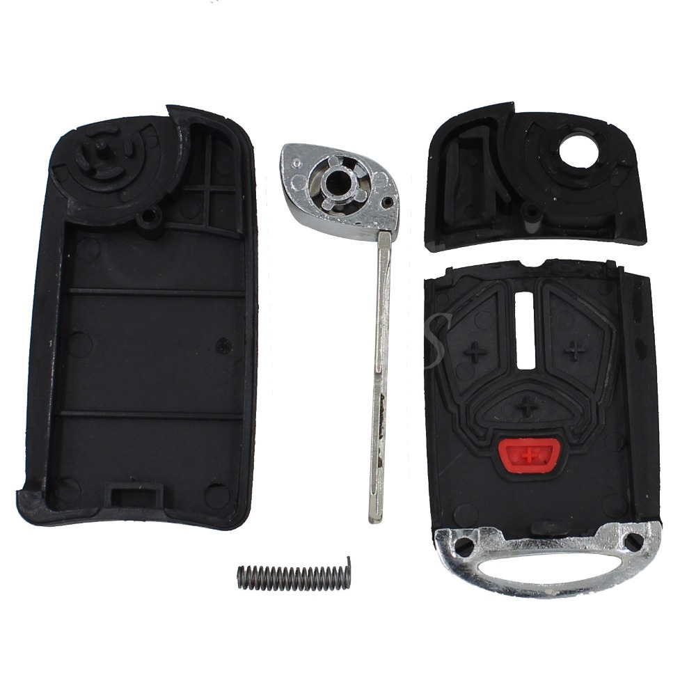 Modify 3 + Panic 4 Buttons Remote Folding Flip Key Shell Case Uncut Blade For Mitsubishi Lancer Galant