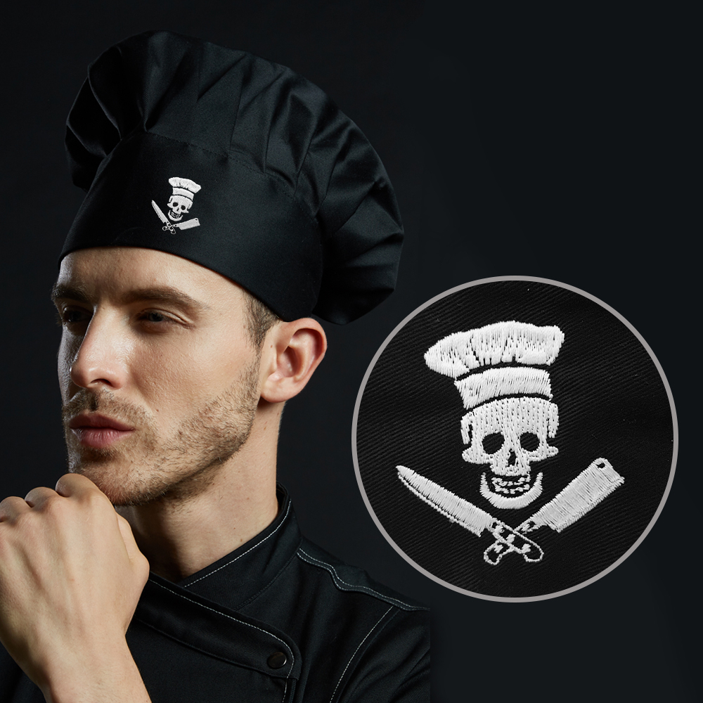 Mesh Top Chef Embroidery Skull Hat Black Adjustable For Mens Women Kitchen Adult Cap Grill Cooking Baker BBQ Work Uniform Hat