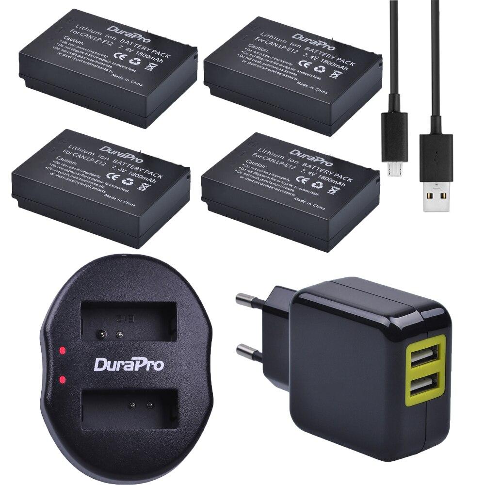 DuraPro 4 pièces pour Canon LP-E12 LP E12 LPE12 1800 mAh batterie + chargeur USB pour Canon EOS M M2 100D rebelle SL1 Kiss X7 EOSM EOSM2
