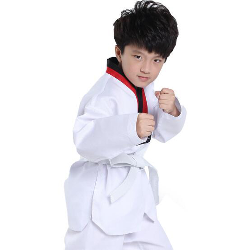 11.11 Teakwondo dobok WTF white taekwondo uniform red black collar child kids karate taekwondo TKD adultscloth