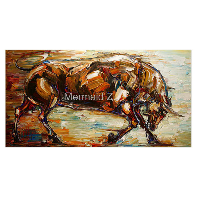 Painting Bull Animal Contemporary Modern Art Oil On Canvas Huge Clean Look Expressive Impressionist Thick