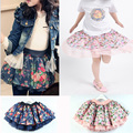 Baby Girl Summer Autumn Floral Print Cotton Pleated Short Skirt Kid Frill Lace Skirt Teenage 3-10 Years