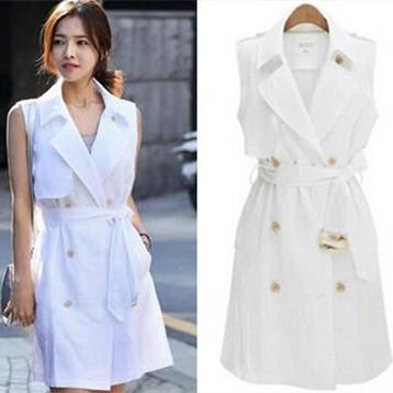 La primavera y El Otoño Nueva moda de solapa sin mangas del chaleco largo blanco de doble botonadura mujeres trinchera abrigo