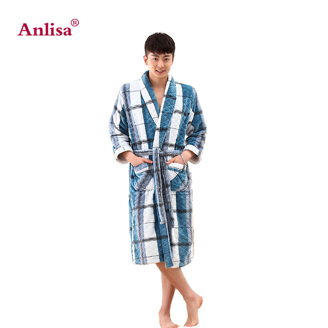 Anlisa Brand Clothing High quality thicken Coral flannel Bath Robe Winter Casual Dressing Gown Long Bathrobe Men Sleepwear Robes
