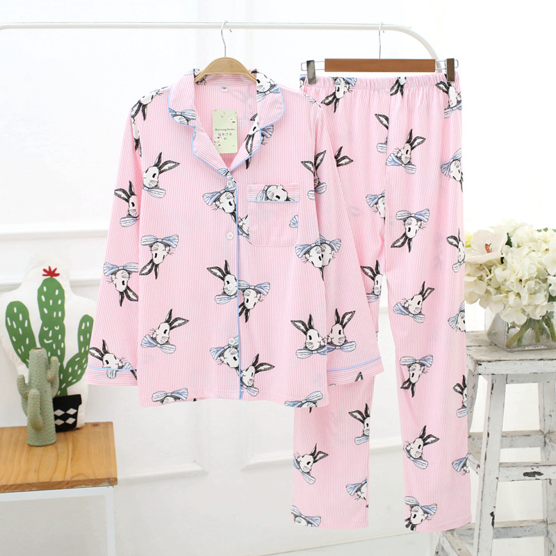 Animal Rabbit Printed Nightgowns Women Autumn Pyjamas Suit breathable cotton Female pajamas Turn-down Home Clothing Long Pants