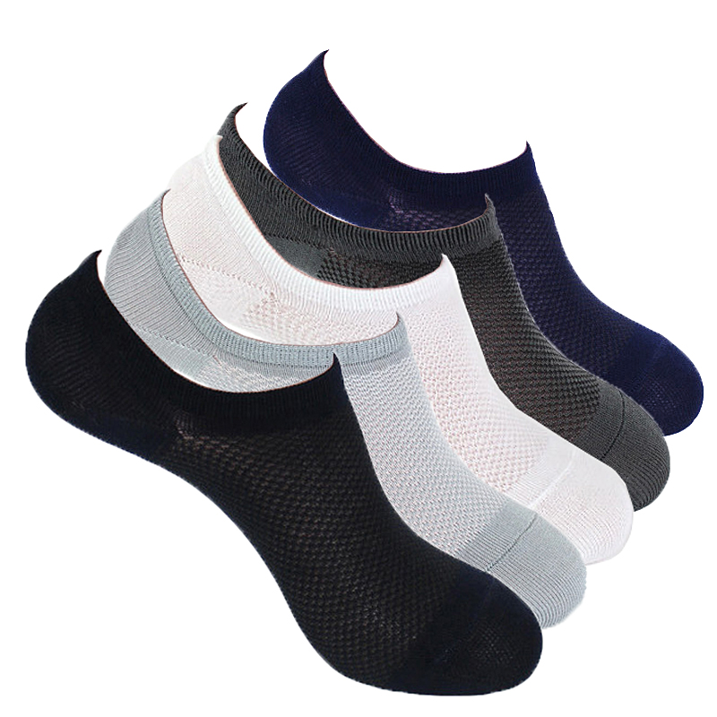 Hot Mesh knitting Solid Boat Invisible   Socks   Men Bamboo Fiber Silicone Slip Design Shallow Mouth Breathable Meias Summer   Sock