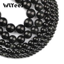 WLYeeS Factory Price Black obsidian stone natural 4-12mm round loose beads selection size for jewelry bracelet Making DIY