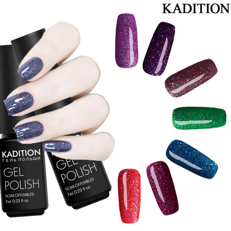 Kadition Gel untuk Kuku Set Neon Brilian UV LED Semi Permanen Beruntung Panjang Laser UV LED Remover untuk Lacquer primer Base Top Coat
